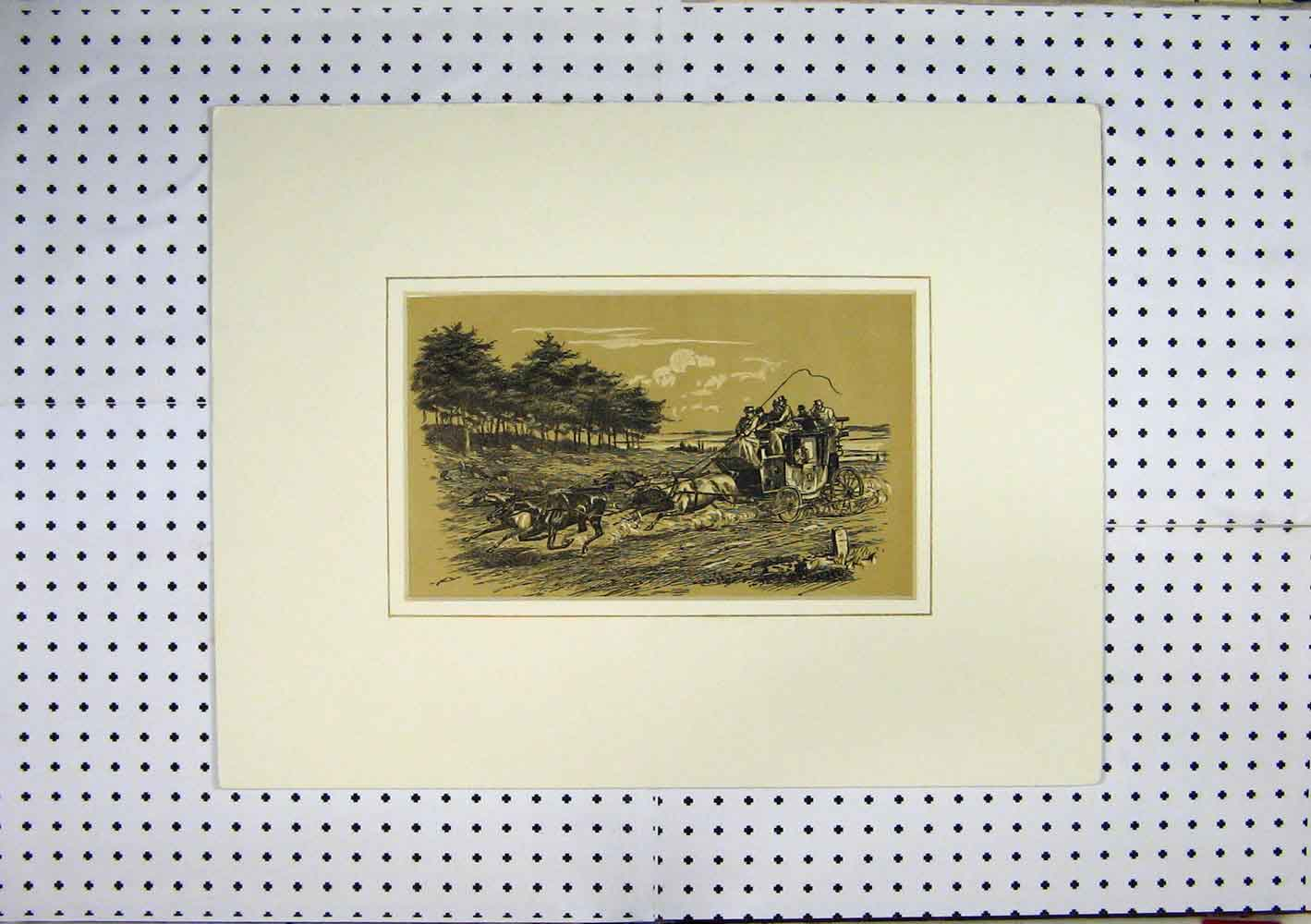 Print Sepia Horses Carriage Racing Country Scene Trees 202A129 Old Original