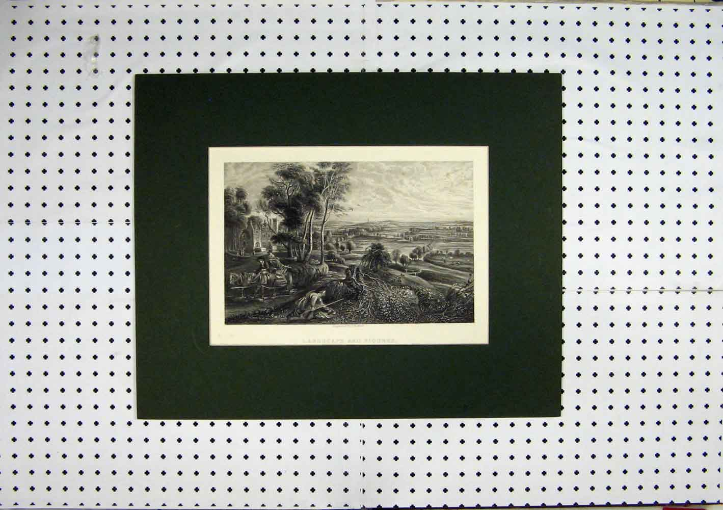 Print C1860 Landscape Figures Engraving Country Scene Horse 204A129 Old Original
