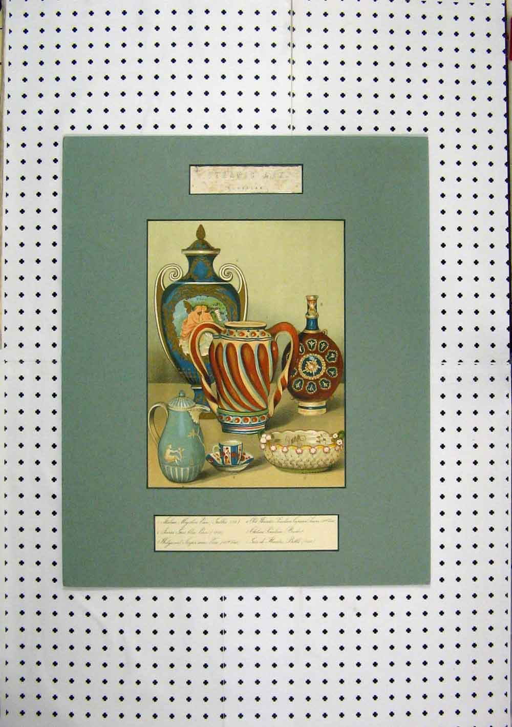 Print Ceramic Art Colour European Vase Basket Bottle 210A129 Old Original