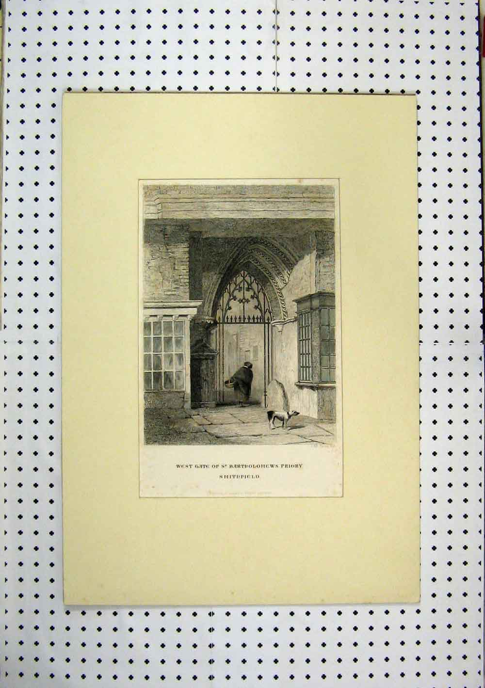Print Colour West Gate St Bartholomews Priory Church 221A129 Old Original