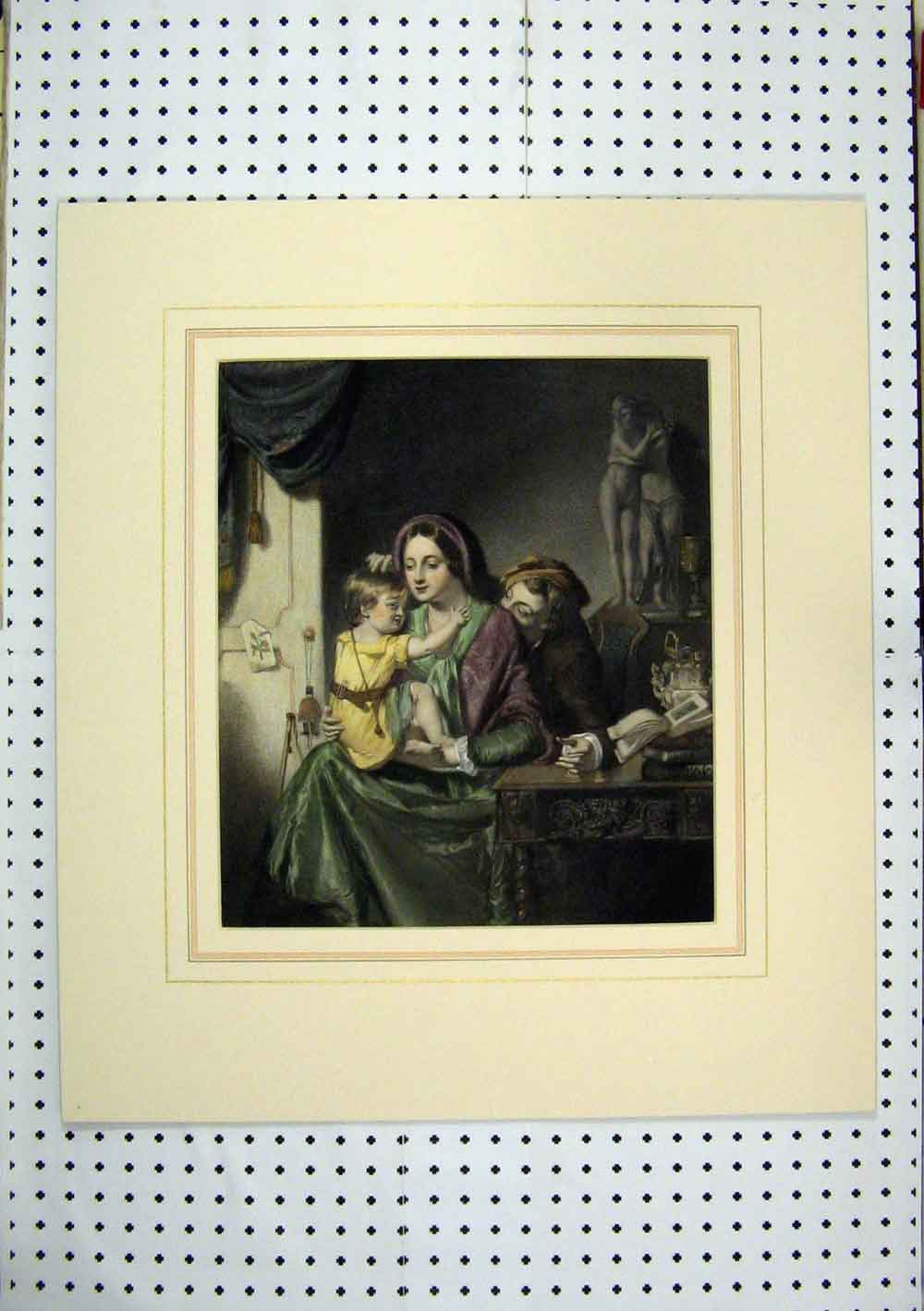 Print C1860 Hand Coloured Man Woman Young Girl Sitting Table 224A129 Old Original