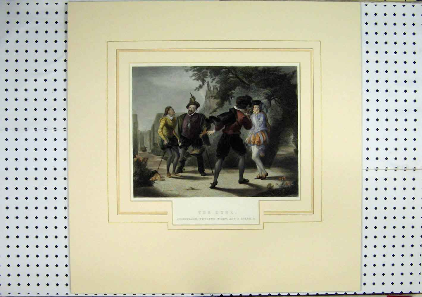 Print Shakspeare Twelth Night Scene Duel C1860 Hand Coloured 225A129 Old Original