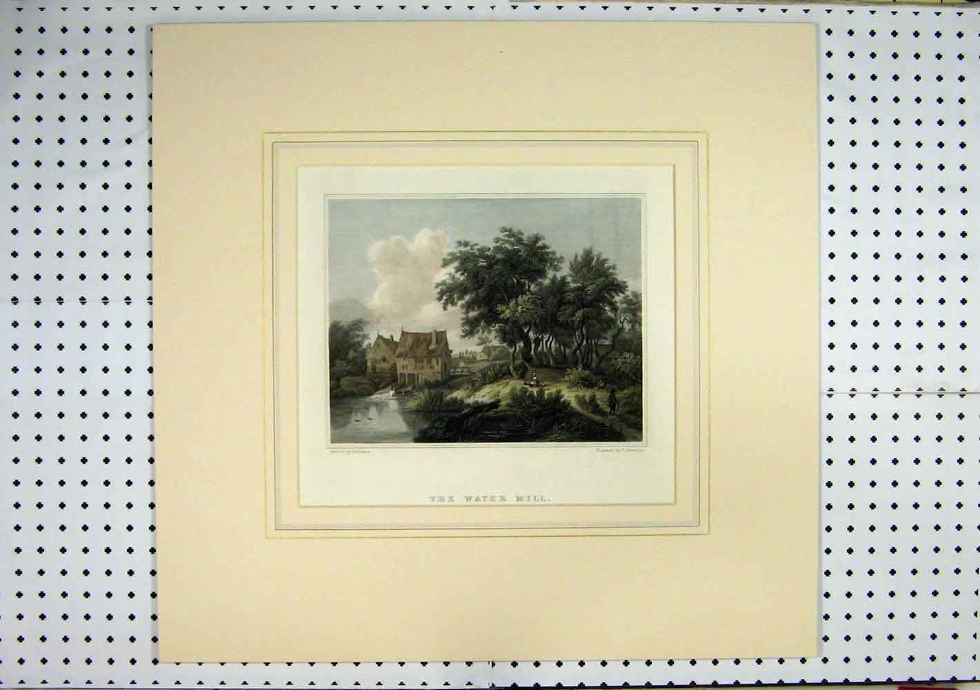 Print C1840 Hand Coloured View Water Mill Country Jeavons 232A129 Old Original