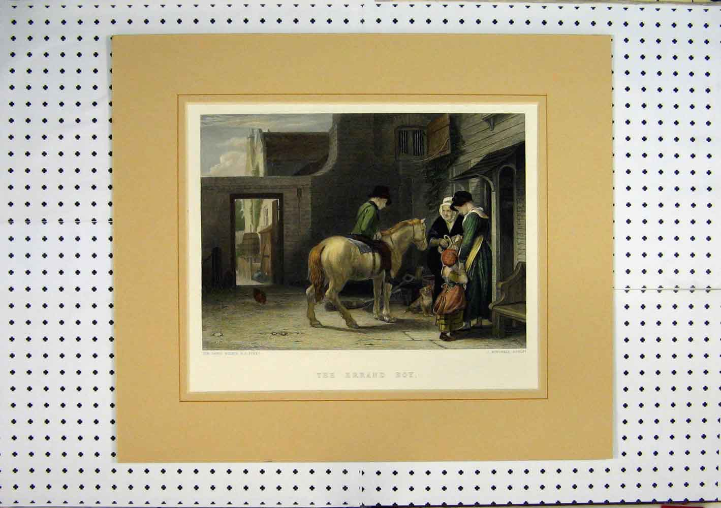 Print Errand Boy Horse House Family C1860 Hand Coloured 237A129 Old Original