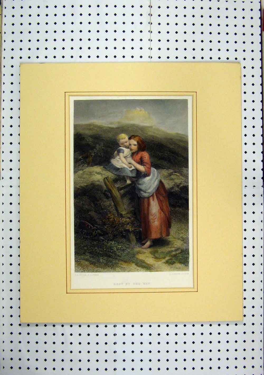 Print Woman Child Country Fence Resting C1860 Hand Coloured 240A129 Old Original
