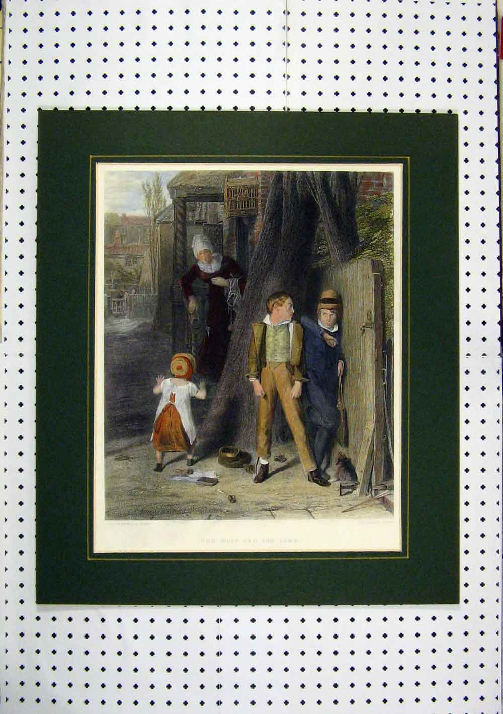 Print Children Playing Boys Hiding Street C1860 Hand Coloured 242A129 Old Original