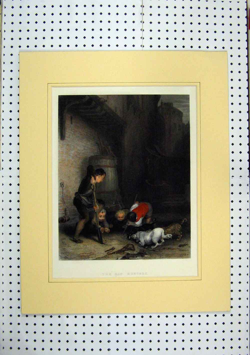 Print C1860 Coloured Rat Hunters Children Dogs Street 247A129 Old Original