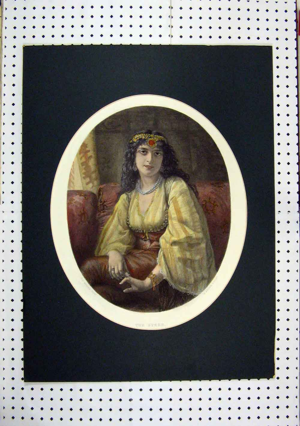 Print C1860 Hand Coloured Beautiful Woman Syren Bourne 249A129 Old Original
