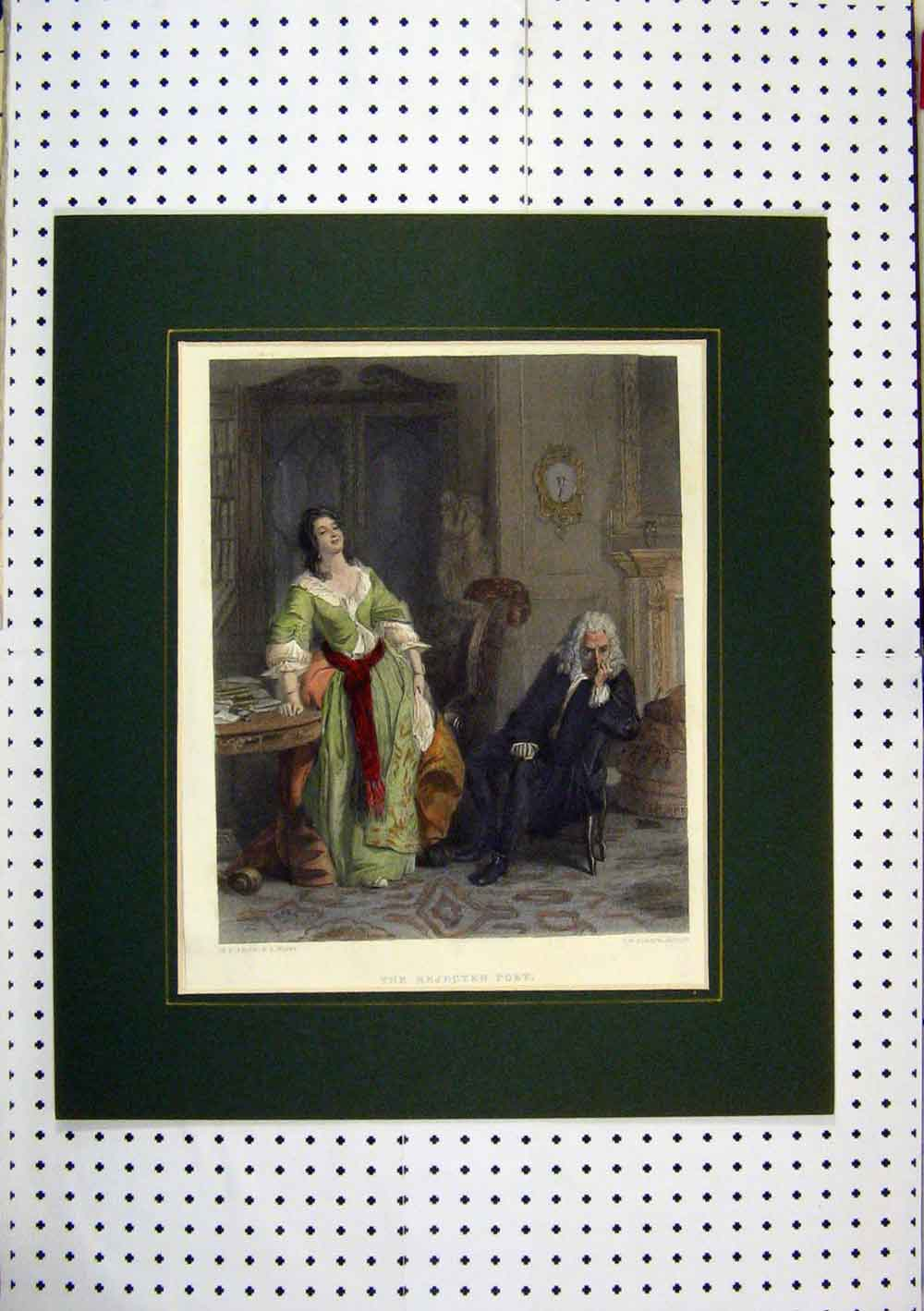 Print C1860 Hand Coloured Man Woman Poet Sitting Chair 255Aa129 Old Original