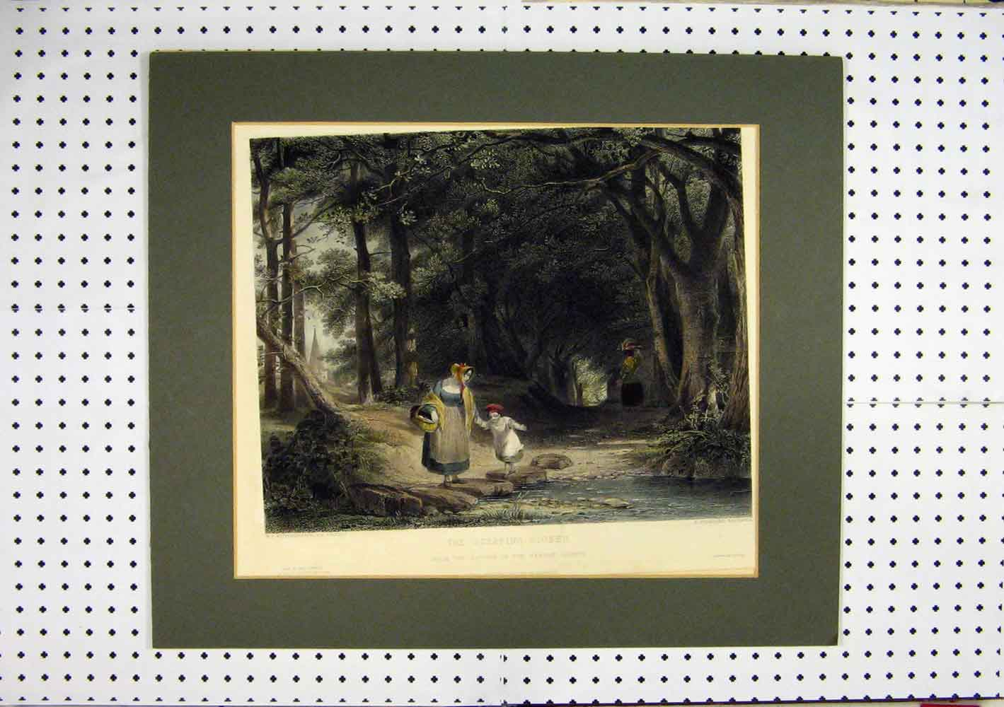 Print C1860 Hand Coloured Woman Child Stones River Country 267A129 Old Original