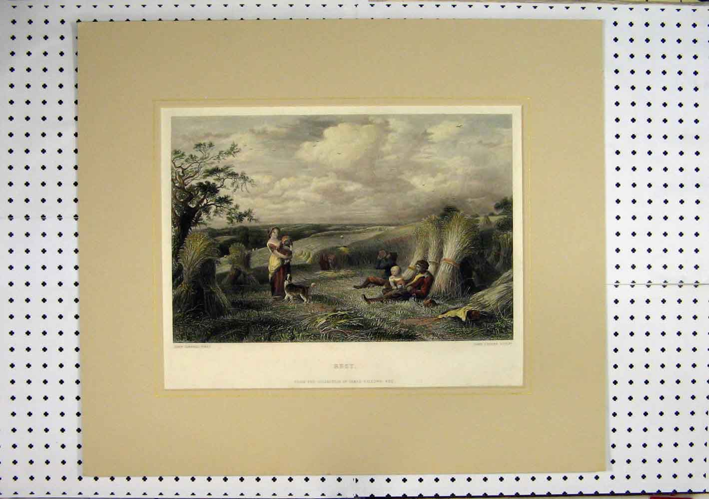 Print C1860 Hand Coloured Country Scene Hay Stacks Cousen 271A129 Old Original