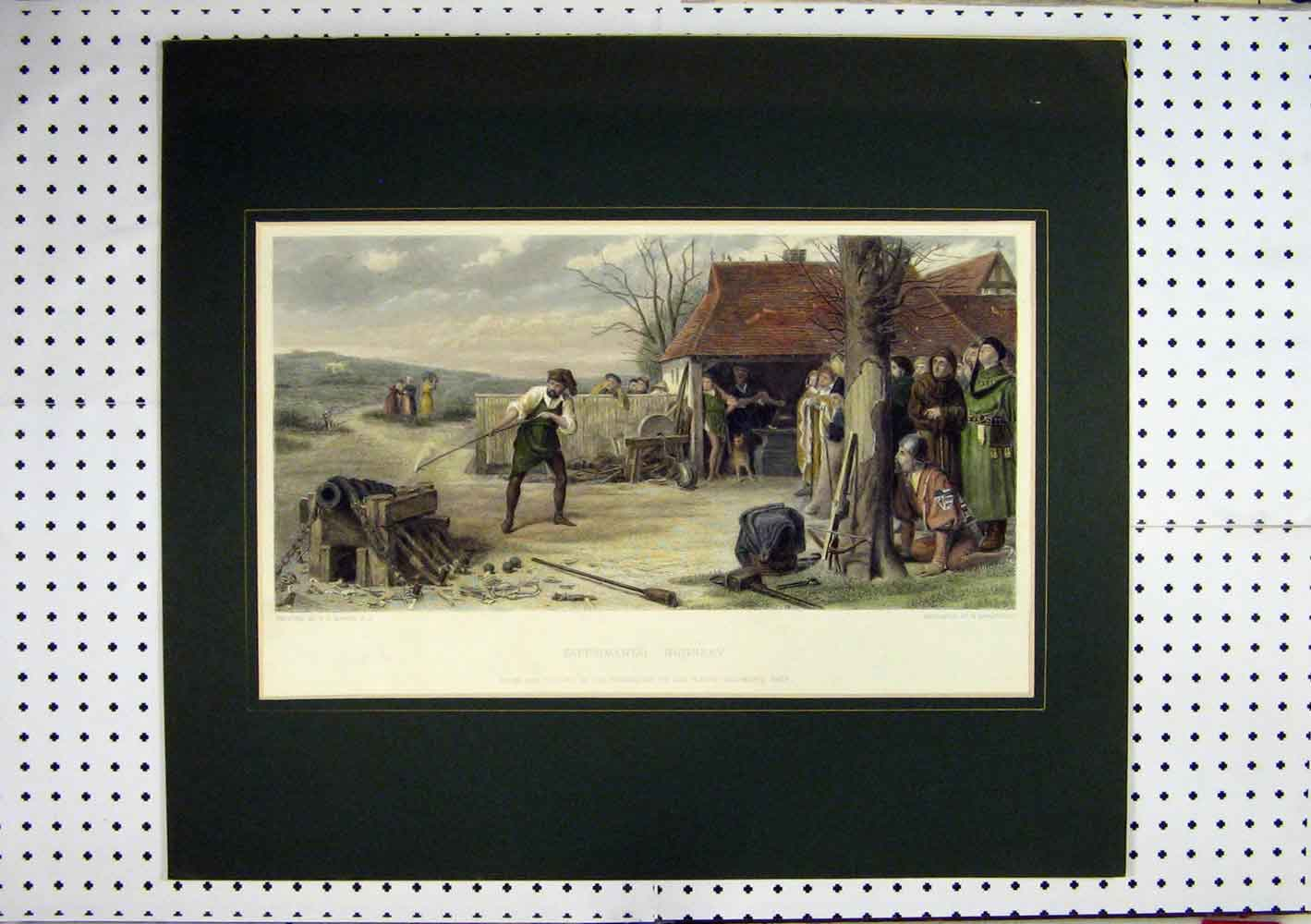 Print C1860 Hand Coloured Experimental Gunnery Man Cannon 273A129 Old Original