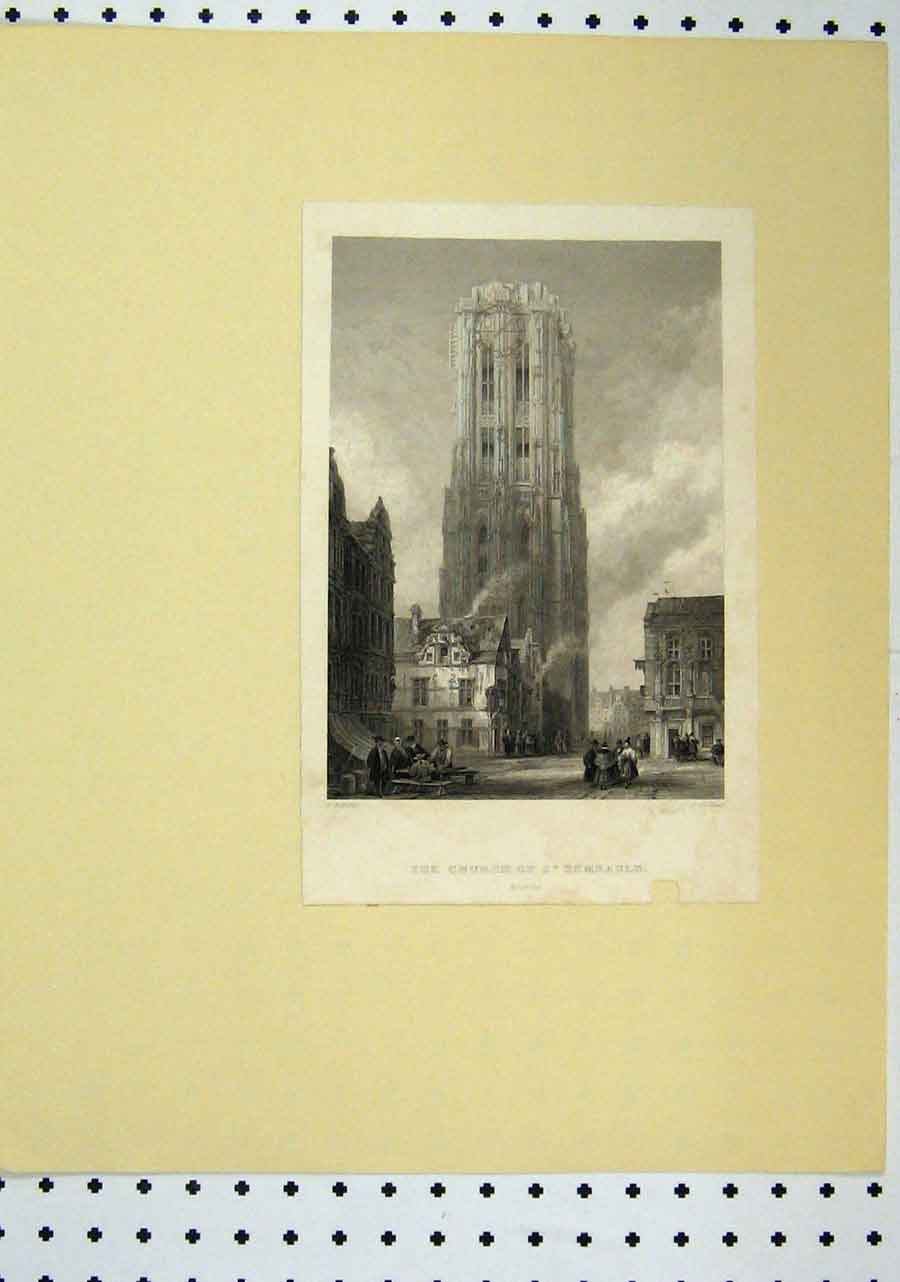 Print View Church Rembauld C1850 Clock Tower 112A145 Old Original