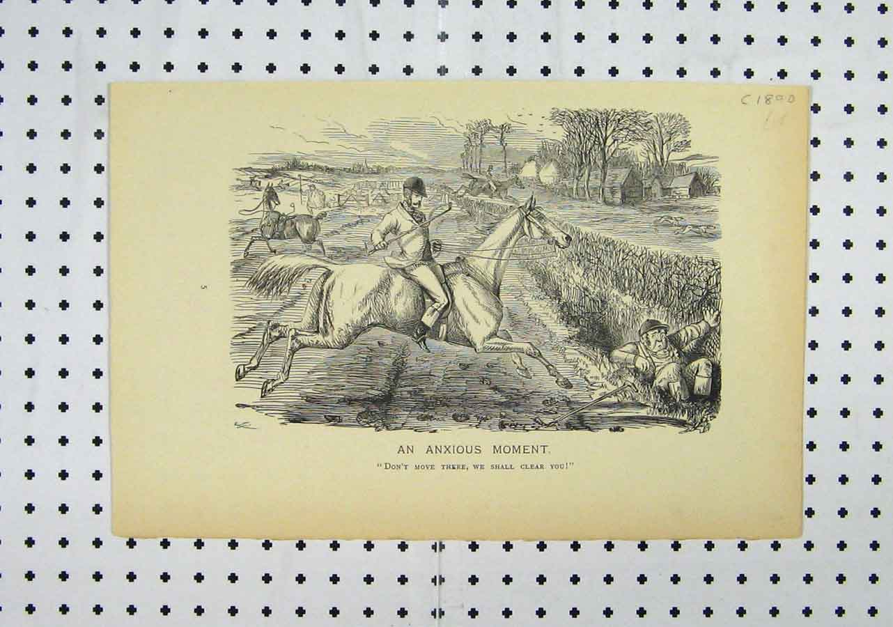 Print C1850 Jockey Horse Fence Jumping Man Ditch Country 119A145 Old Original
