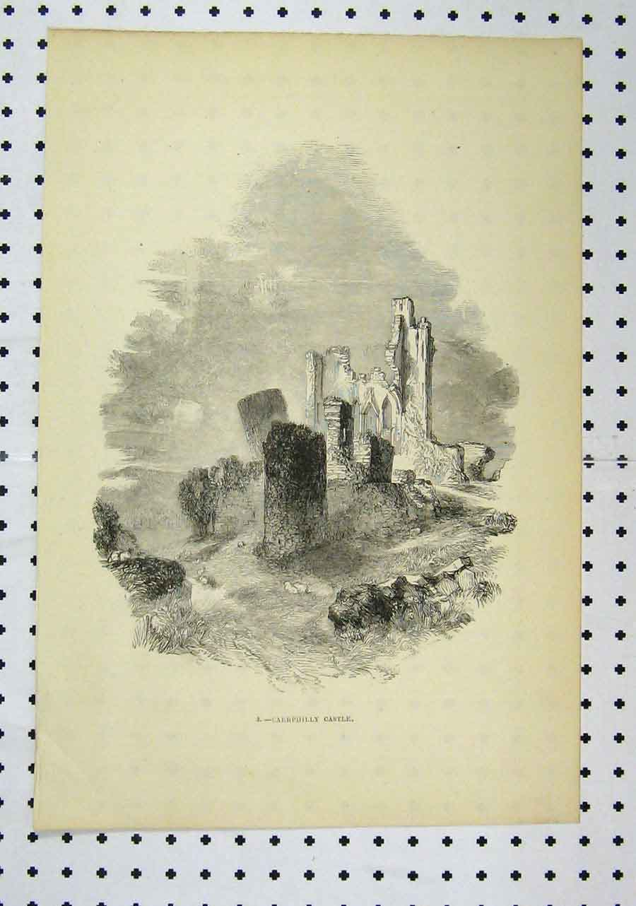 Print View Caerphilly Castle C1850 Ireland Ruins Building 131A145 Old Original