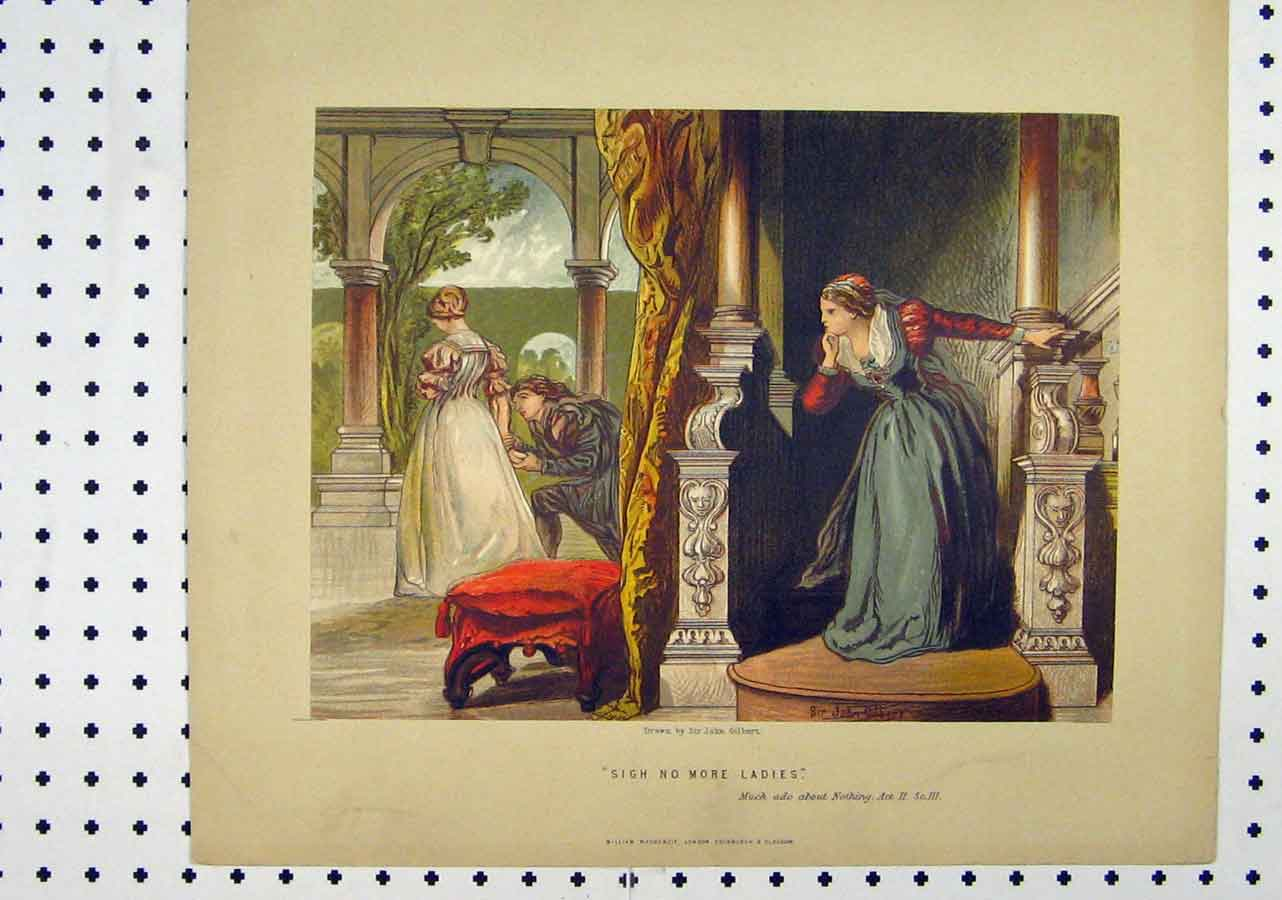 Print Scene Much Ado Nothing C1850 Theatre Romance Stairs 145A145 Old Original