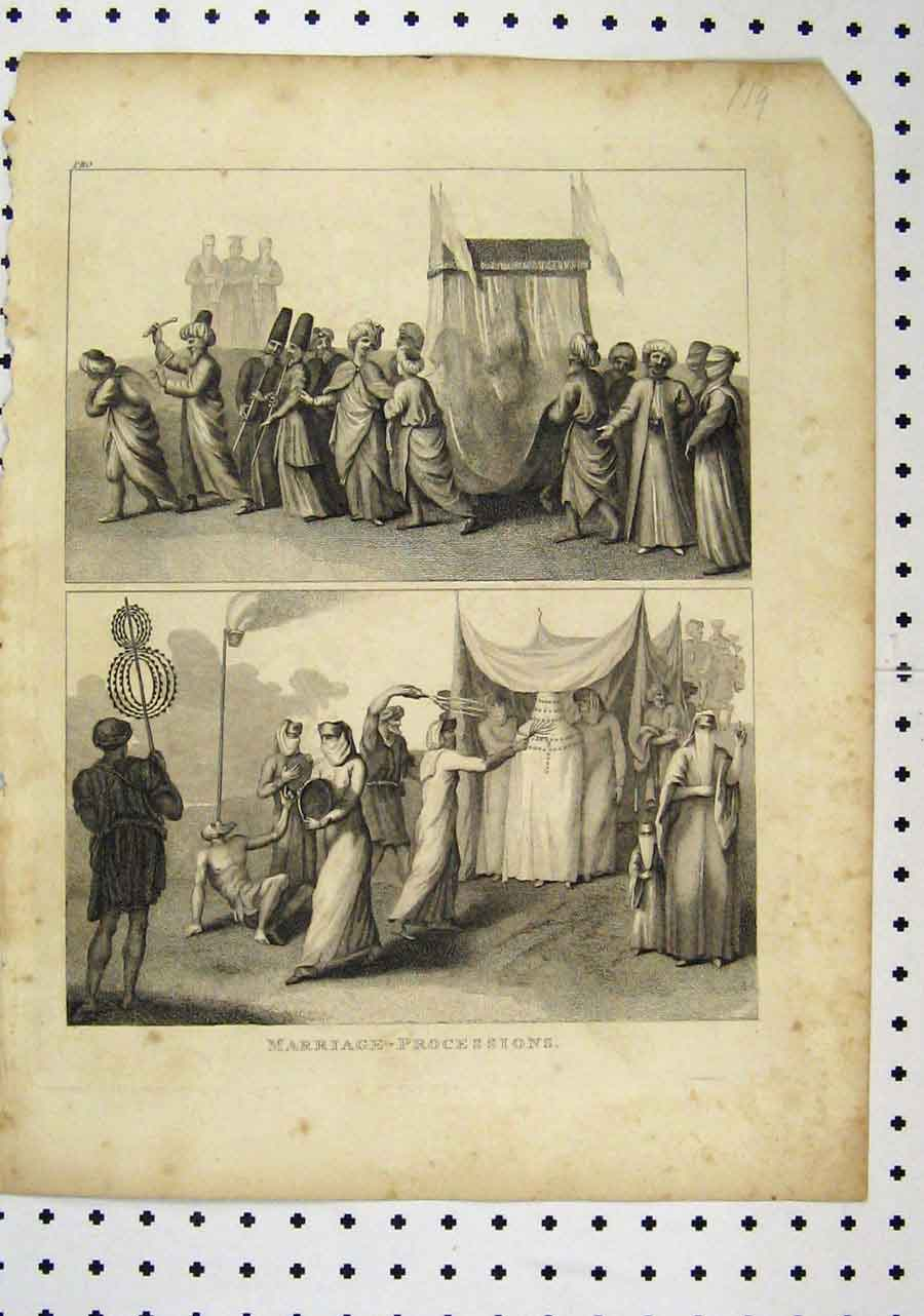 Print C1850 Marriage Processions Wedding Viel 150A145 Old Original
