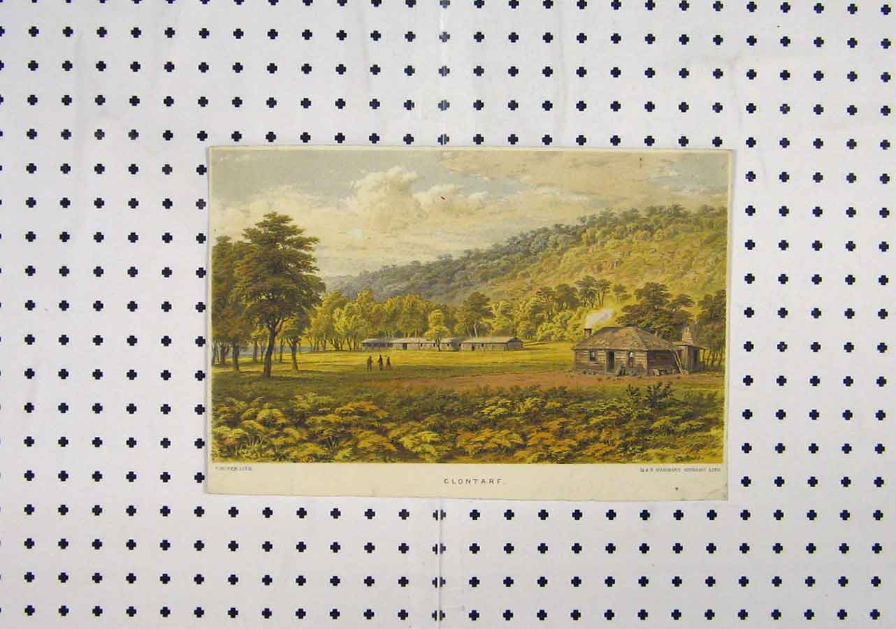 Print C1850 View Clontarf Country Scene Log Cabin 170A145 Old Original