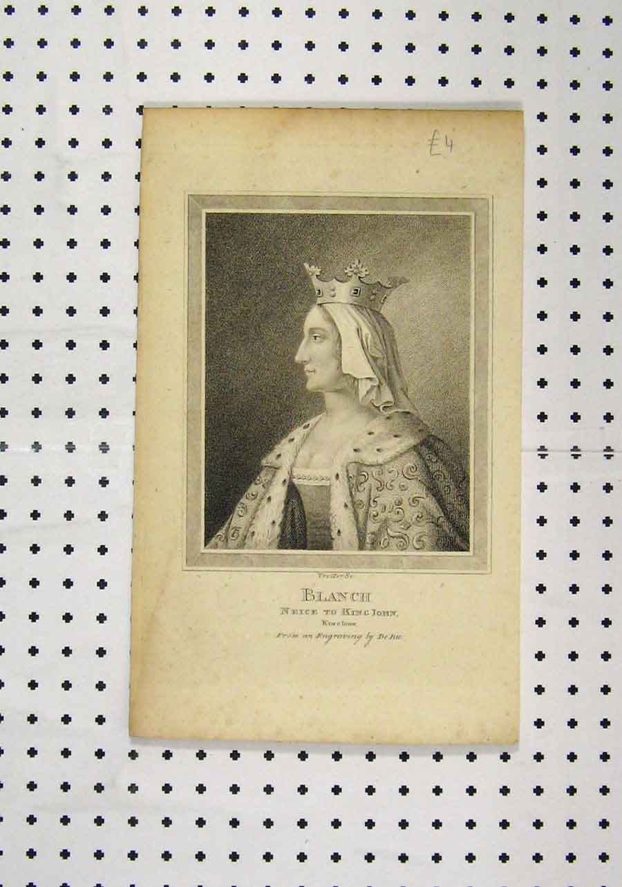 Print C1850 Portrait Blanch Neice King John Engraving De Bie 192A145 Old Original
