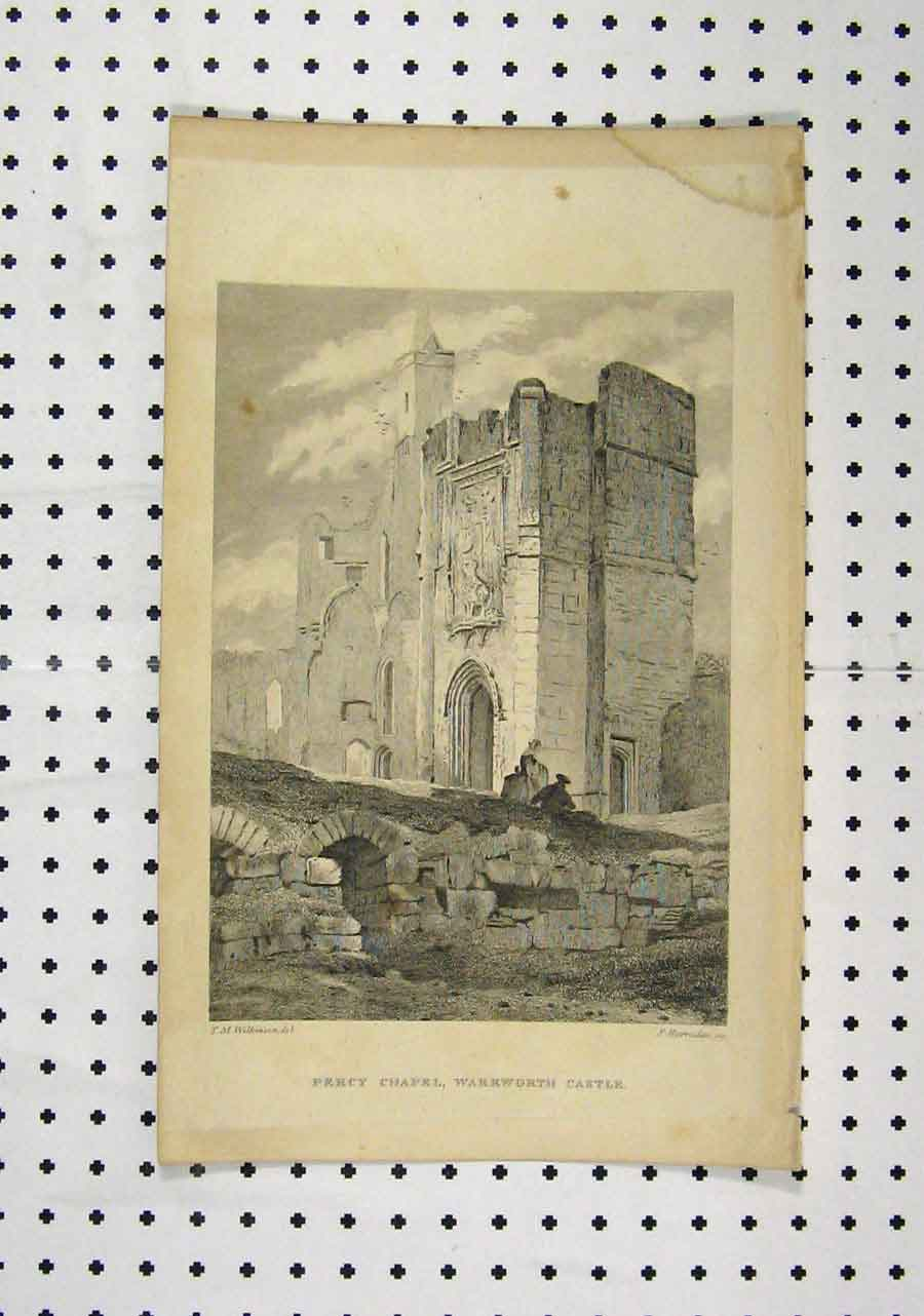 Print C1850 View Percy Chapel Warkworth Casle 197A145 Old Original