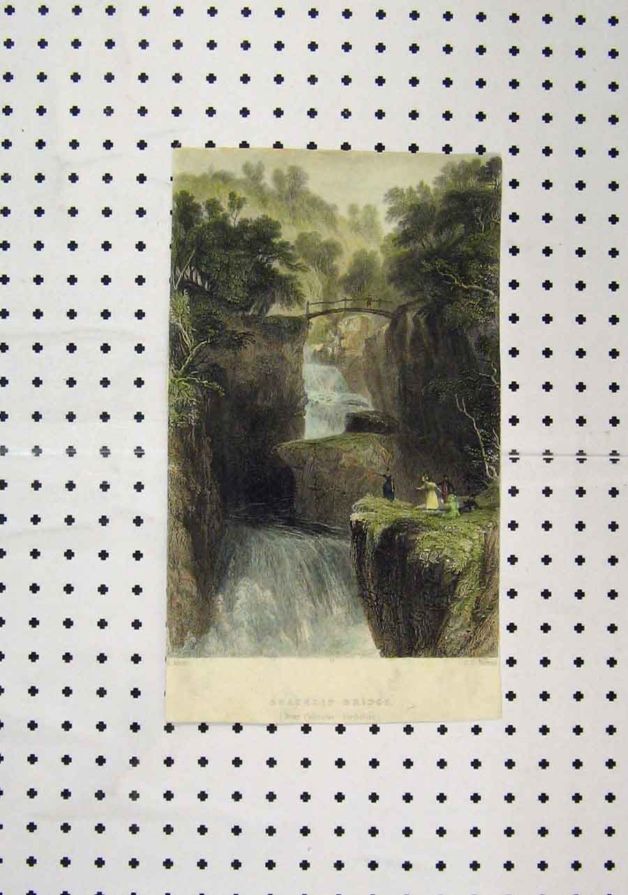 Print C1850 Colour Bracklin Bridge Waterfall Perthshire 198A145 Old Original