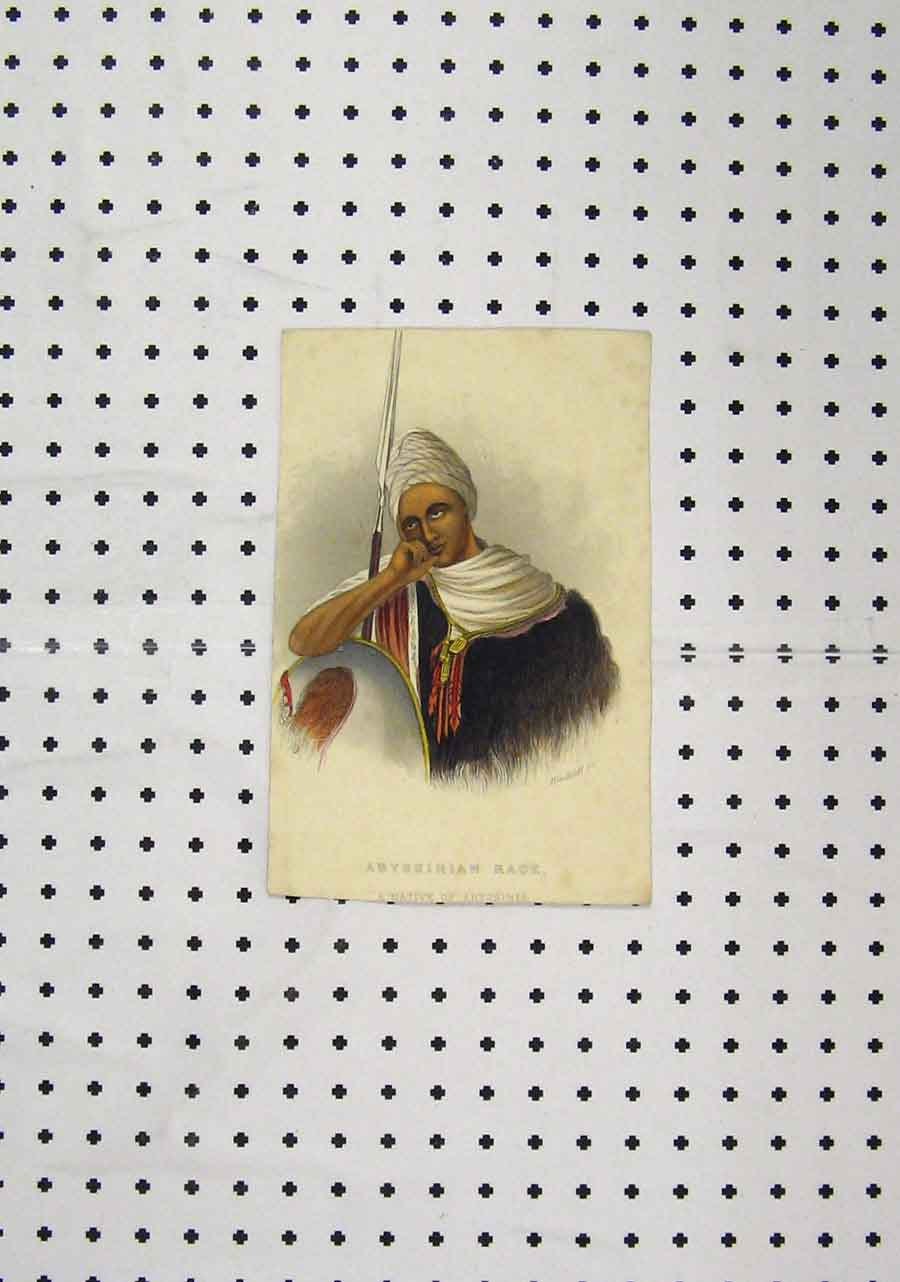 Print C1850 Colour Native Abyssinia Warrior 203A145 Old Original