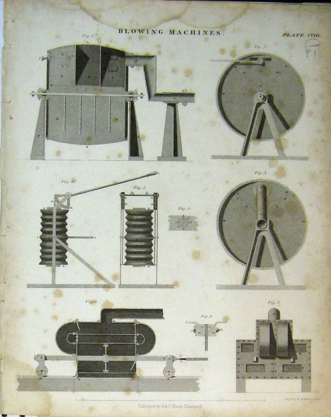 Print C1890 Blowing Machines Balance Hydrostatic Diagrams 106A146 Old Original