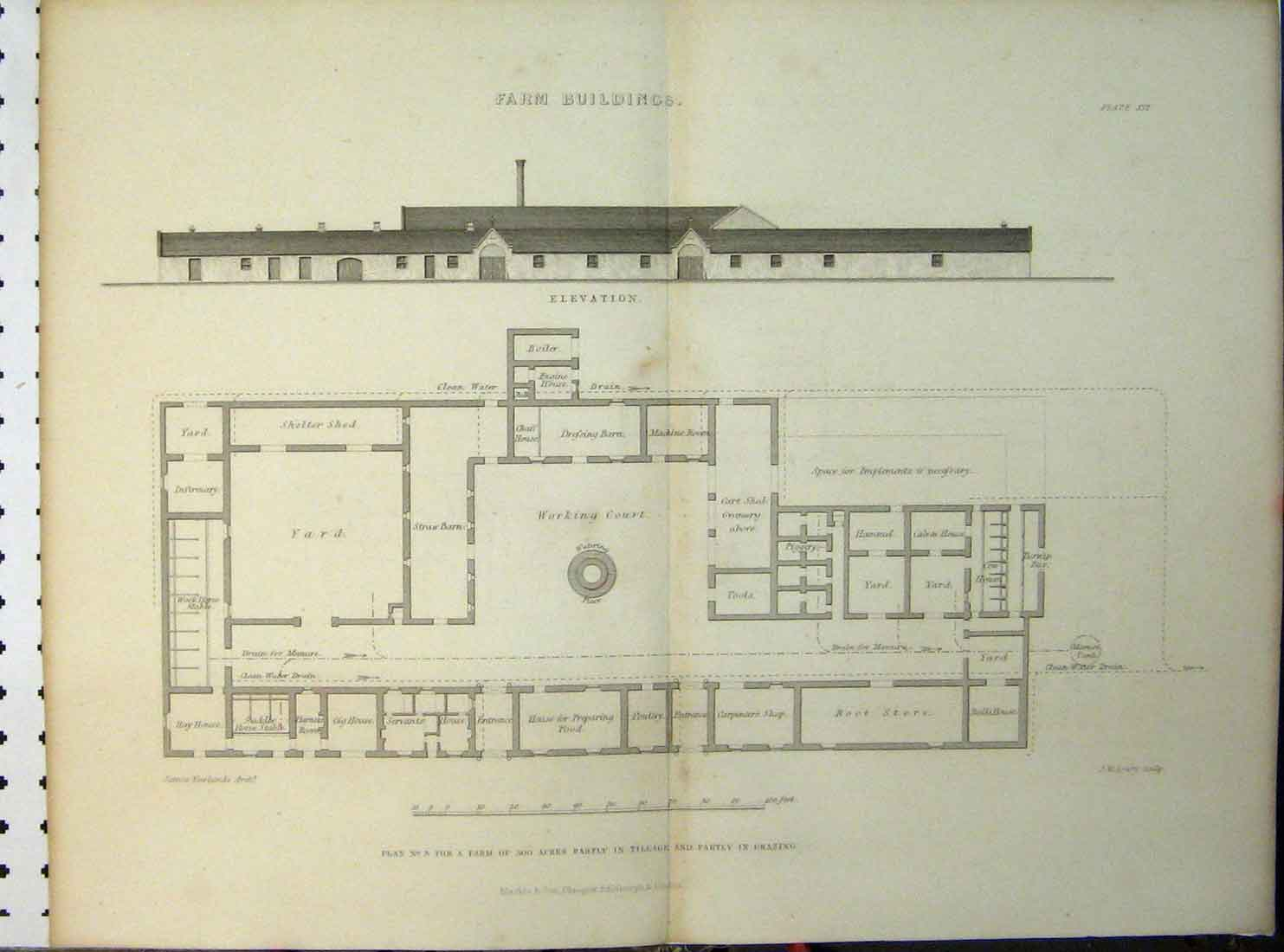 Print C1890 Farm Buildings Plan Elevation Working Court Yard 113A149 Old Original
