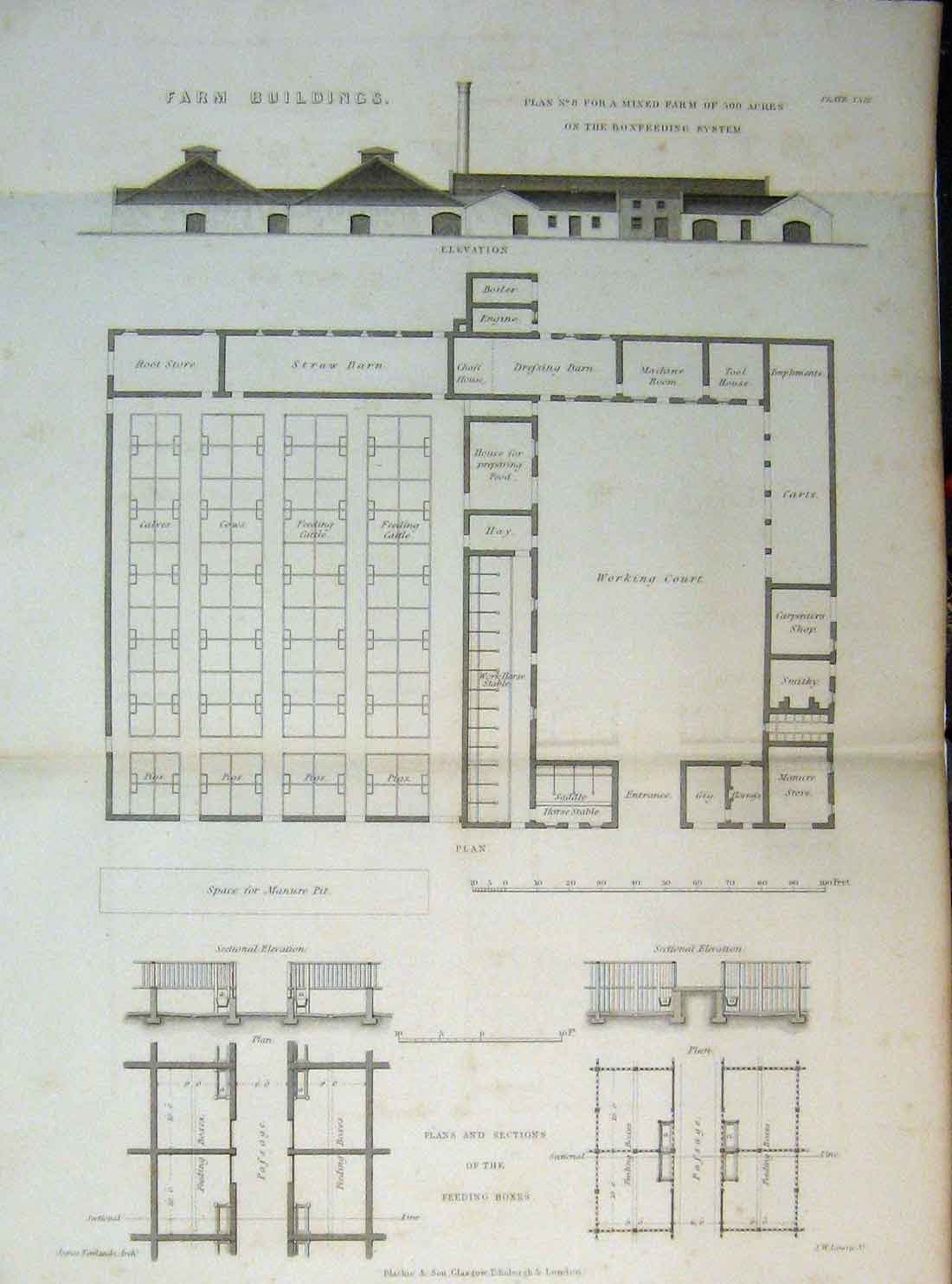 Print C1890 Farm Buildings Plan Working Court Feeding Boxes 116A149 Old Original