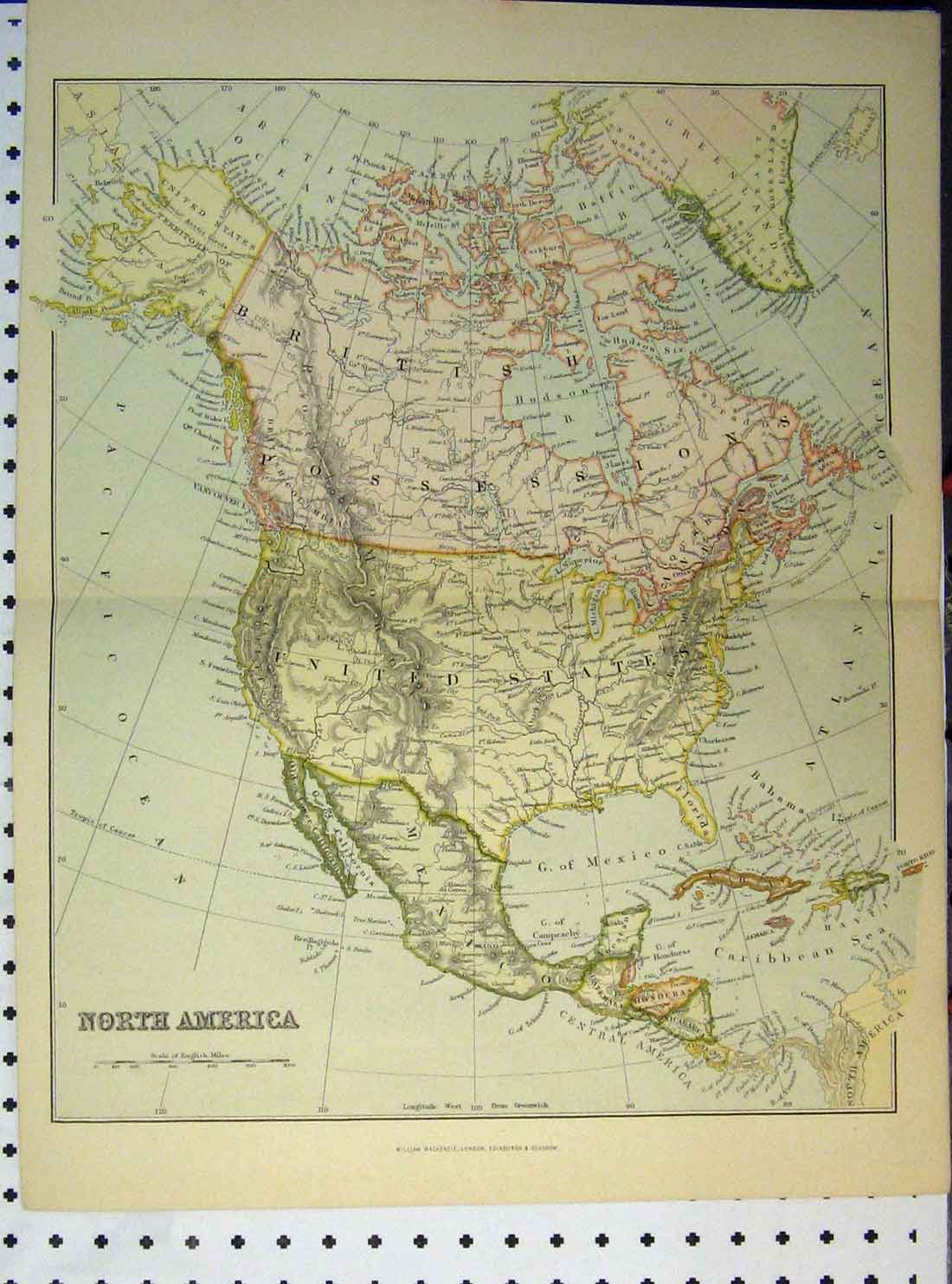 Print Colour C1890 Map North America Pacific Ocean 133A149 Old Original