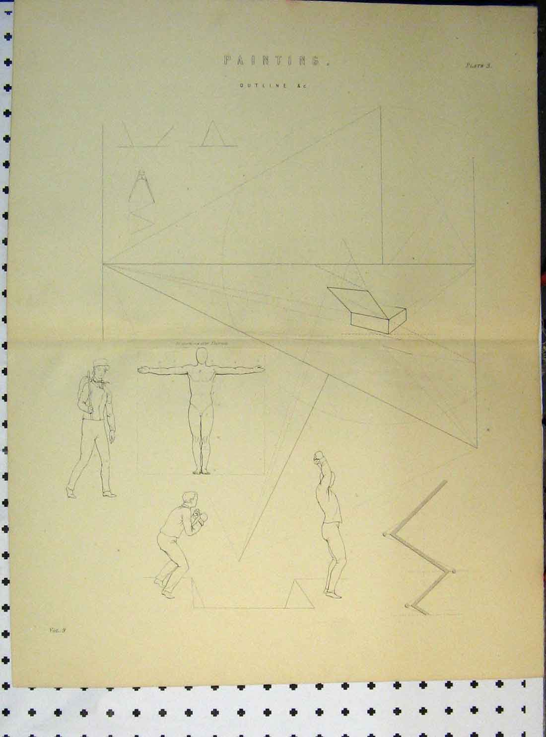 Print C1890 Painting Outline Human Body Jumping Shapes 146A149 Old Original