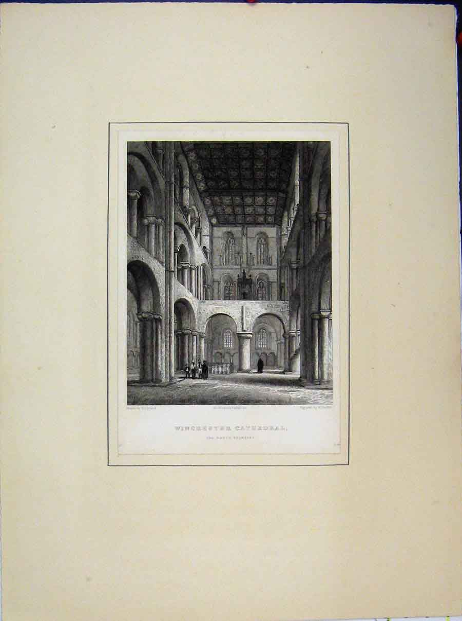 Print Winchester Cathedral North Transept Griffith Winkles 521A189 Old Original