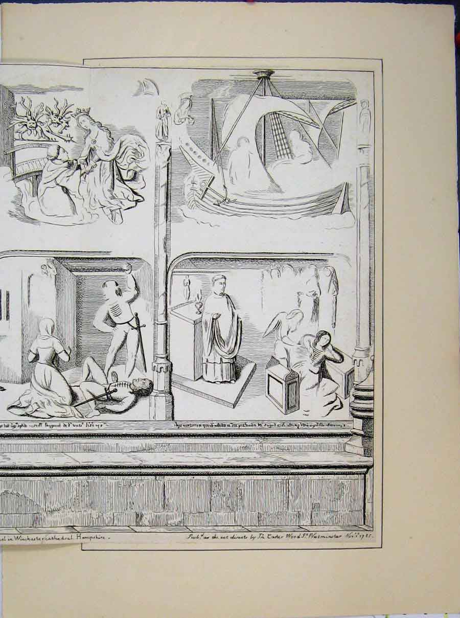Print Painting Wall St Mary Chapel Winchester Cathedral 1785 526A189 Old Original