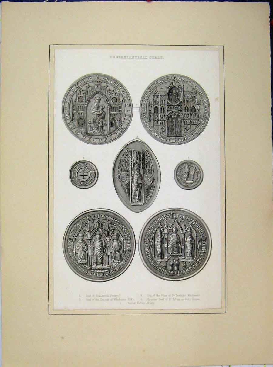 Print Ecclesiastical Seals Southwick Winchester Netley Abbey 527A189 Old Original