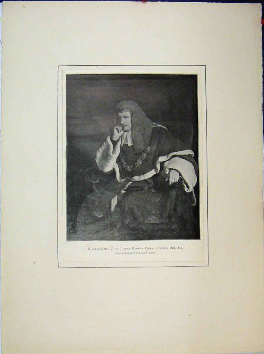 Print William Erle Portrait 1804 Chief Justice Common College 535A189 Old Original
