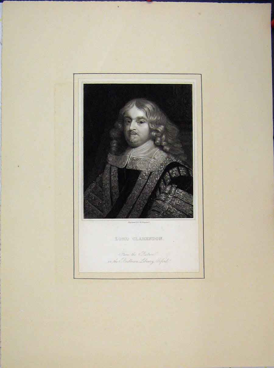 Print Portrait Lord Clarendon Bodleian Library Oxford 542A189 Old Original