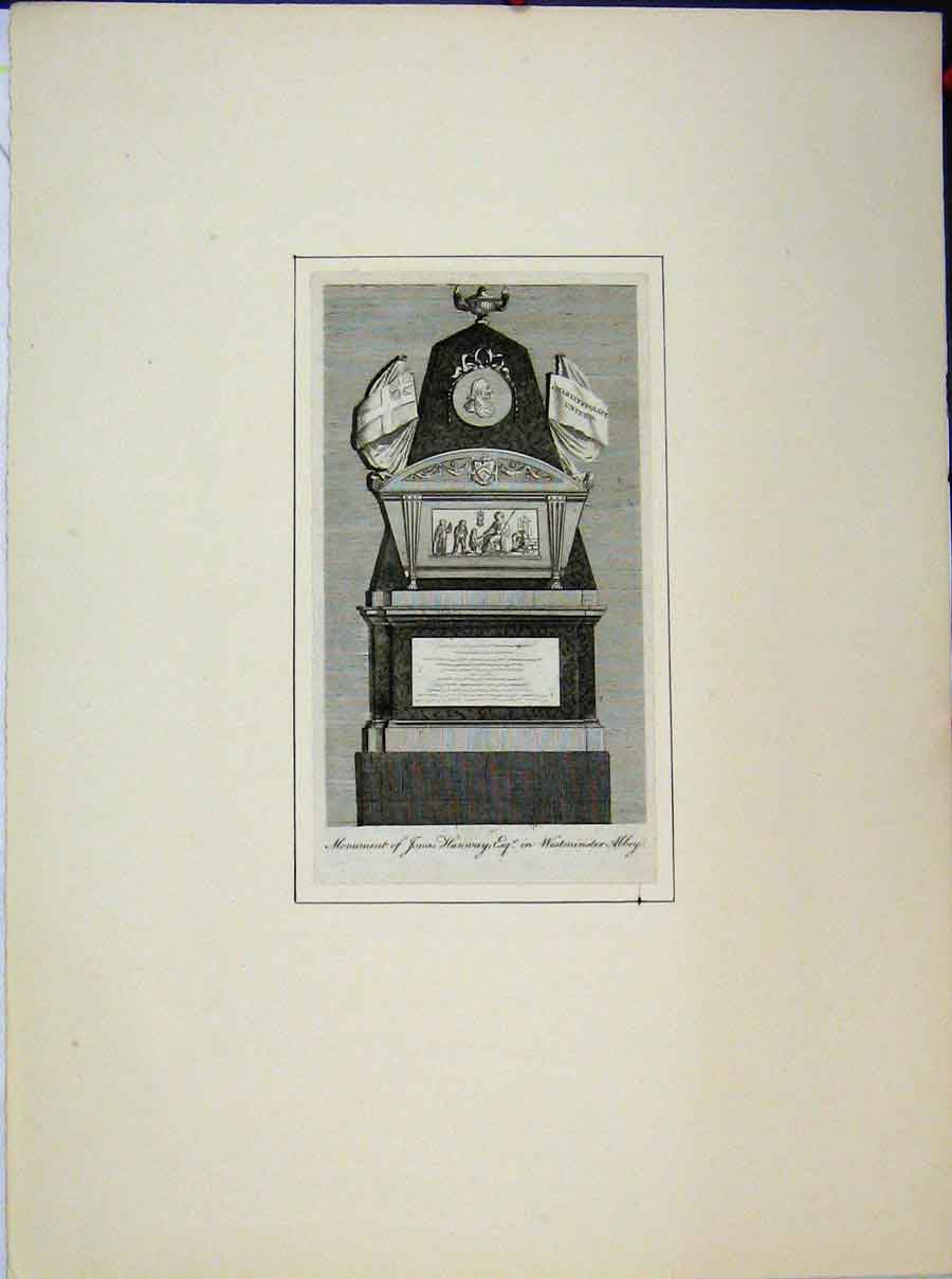 Print Monument Jonas Hanway Westminster Abbey 553A189 Old Original