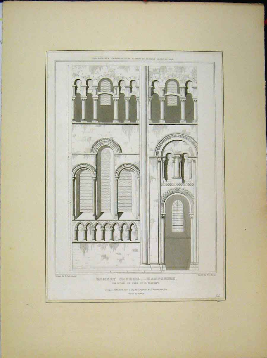 Print 1819 Romsey Church Hampshire Elevation Transept 554A189 Old Original