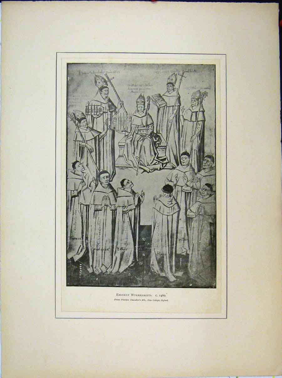 Print Holy Men Eminent Wykehamists Warden Chandler'S 556A189 Old Original
