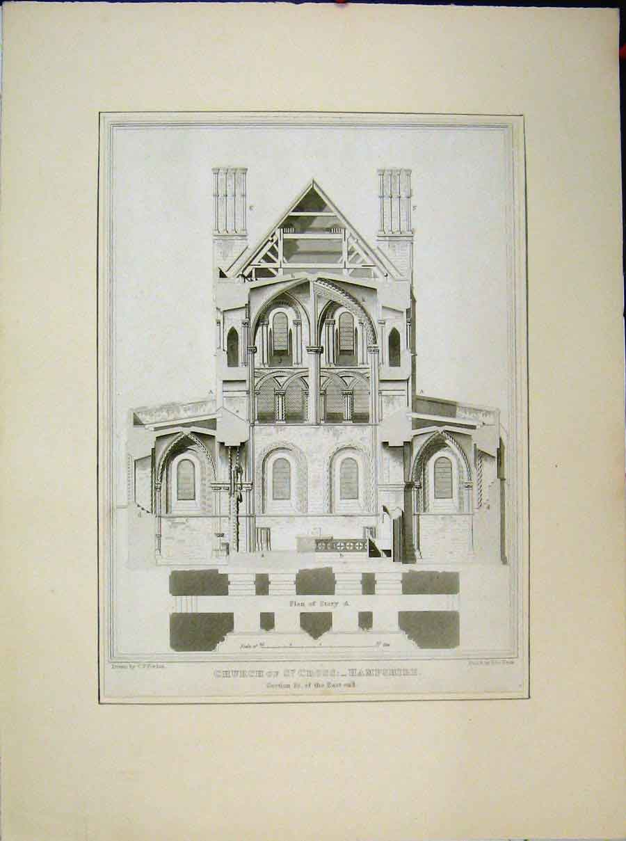 Print Church St Cross Hampshire Section East End 559A189 Old Original