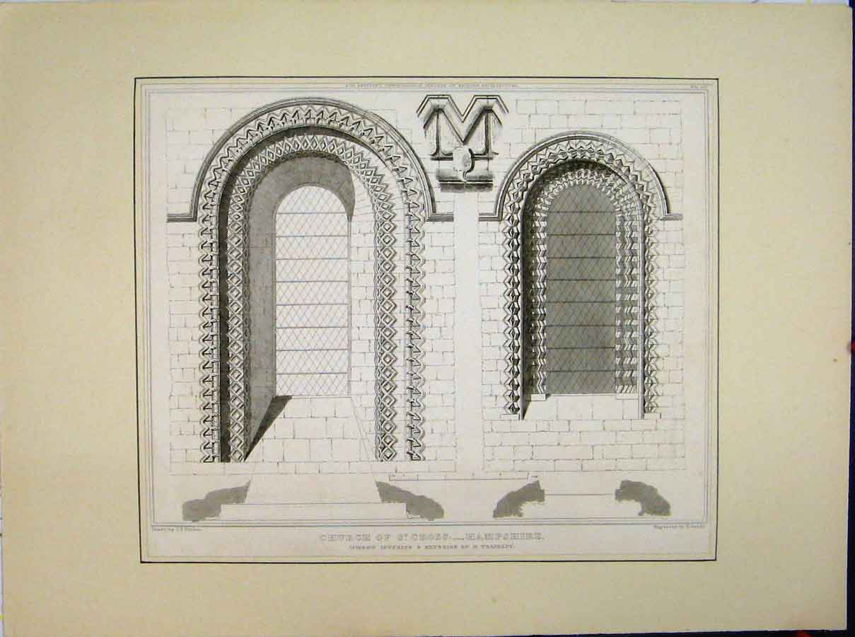 Print Church St Cross Hampshire Window Interior Transept 561A189 Old Original