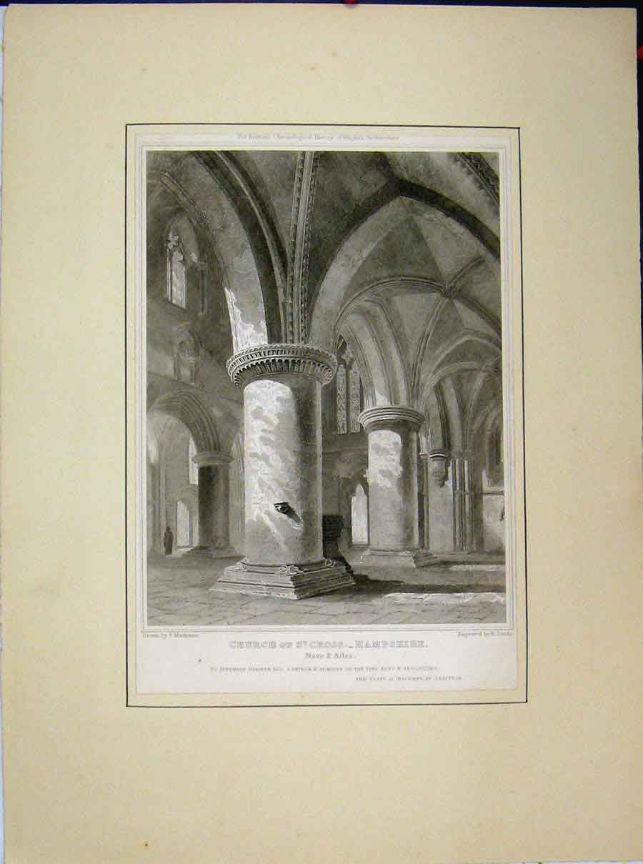 Print Church St Cross Hampshire Nave Ailes 562A189 Old Original