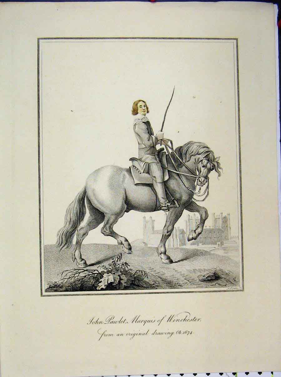 Print 1674 John Pawlet Marquis Winchester Horse 570A189 Old Original