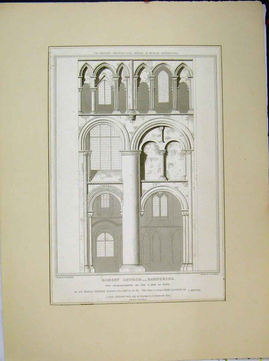 Print 1819 Romsey Church Hampshire Compartments Nave Keux 573A189 Old Original