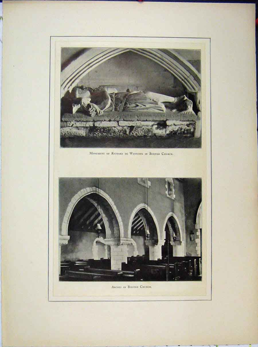 Print Monument Richard Westcote Binsted Church Arches 576A189 Old Original