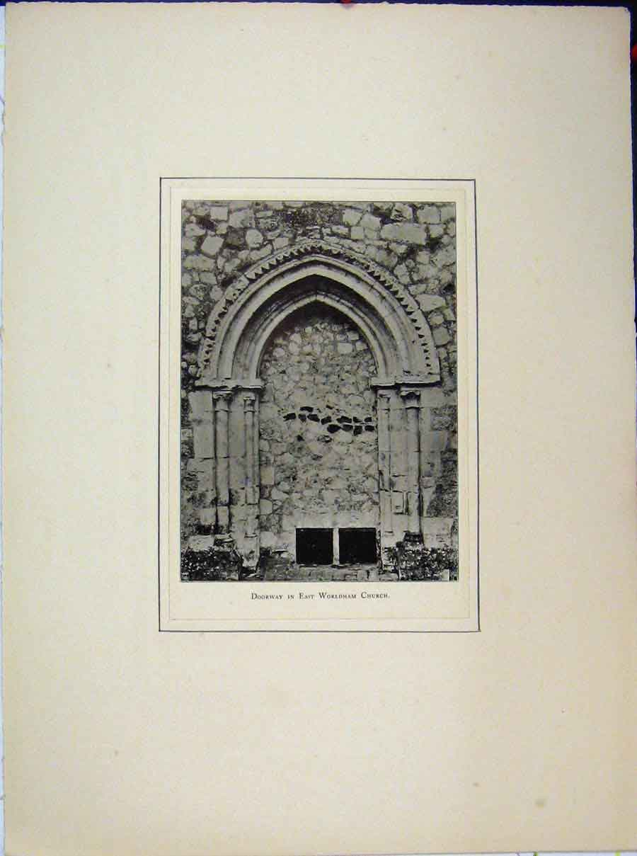 Print Doorway East Worldham Church Archway 577A189 Old Original