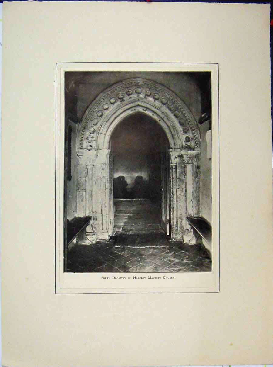 Print South Doorway Hartley Mauditt Church 579A189 Old Original