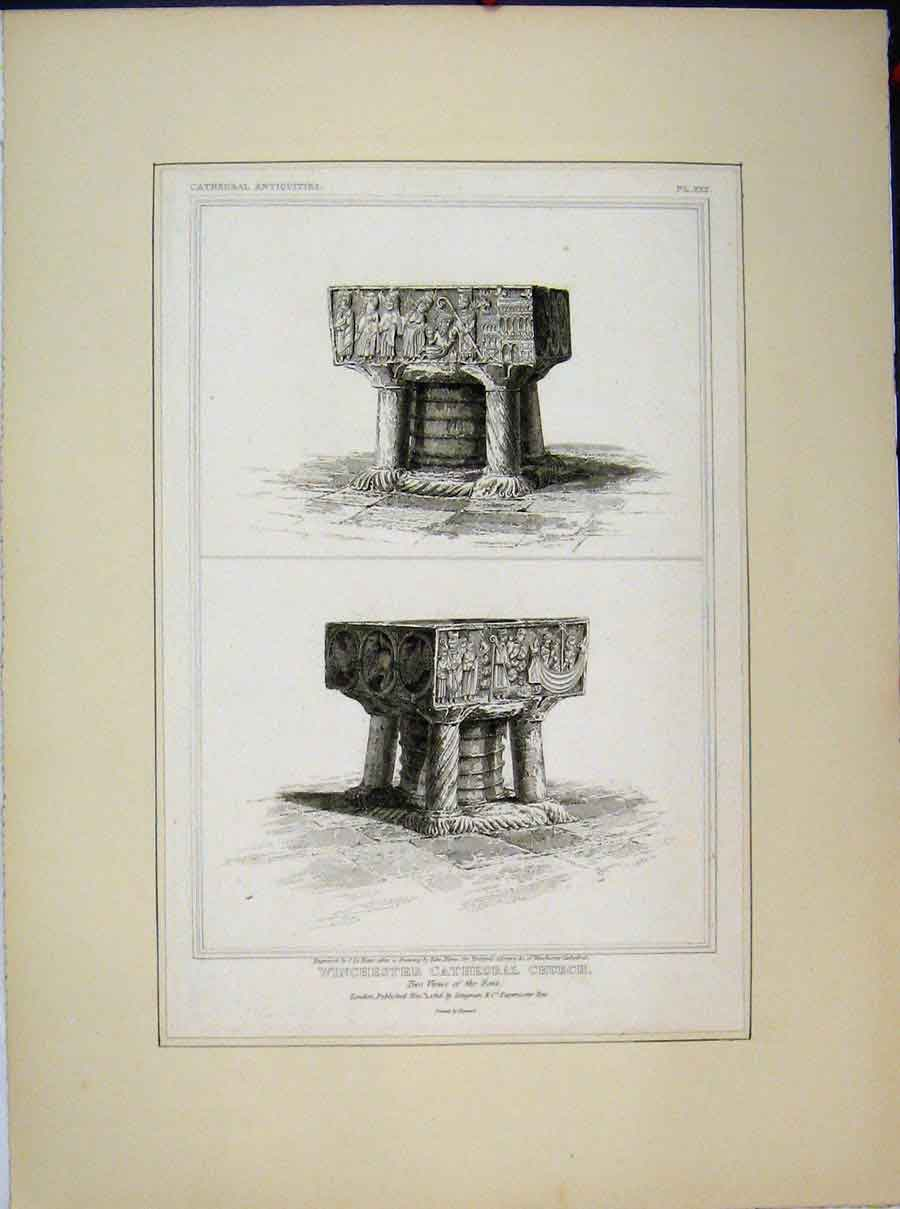 Print 1816 Winchester Cathedral Church Views Font Keux 584A189 Old Original