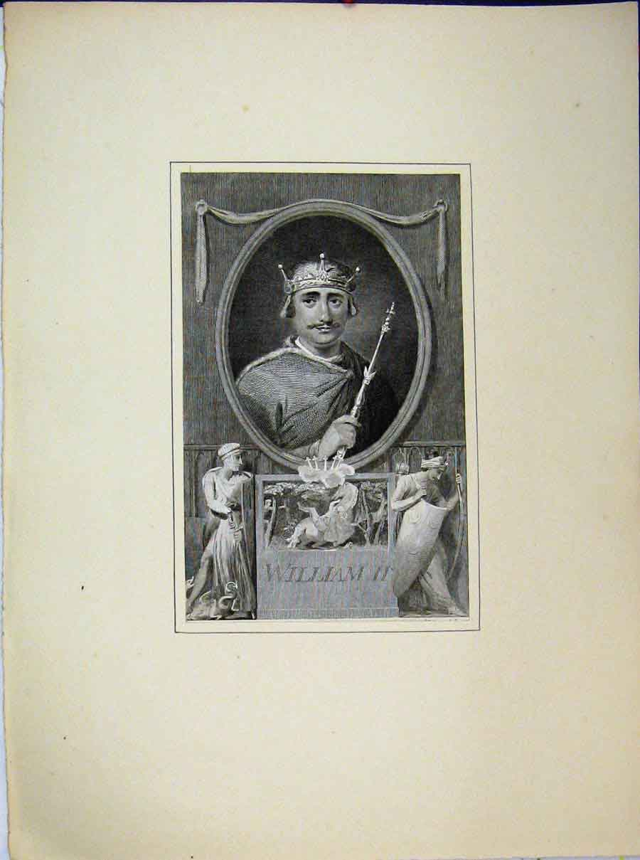 Print Portrait King William Ii Crown Knights 594A189 Old Original