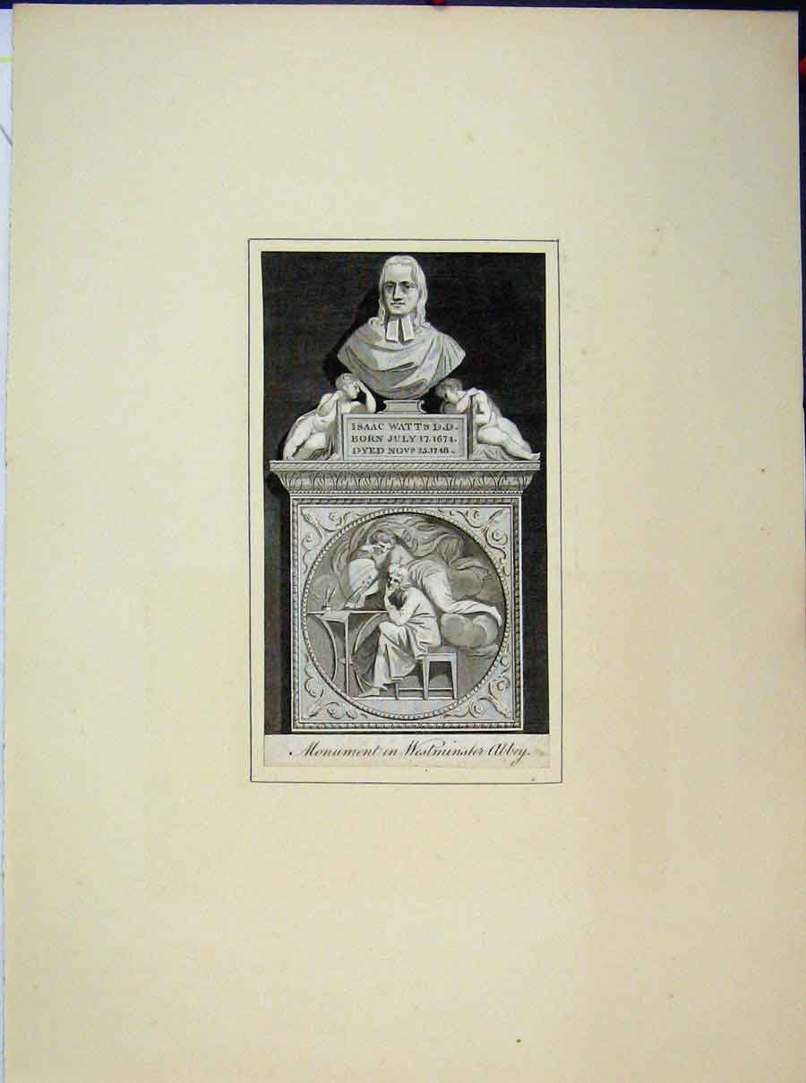 Print Monument Westminster Abbey Isaac Watts 615A189 Old Original